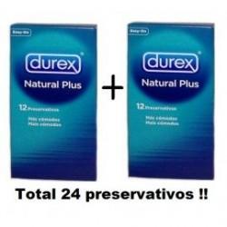 PRESERVATIVOS DUREX DUPLO NATURAL PLUS 12 UNIDADES X 2